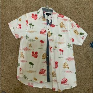 Men's hardly worn hula girls polo button up shirt